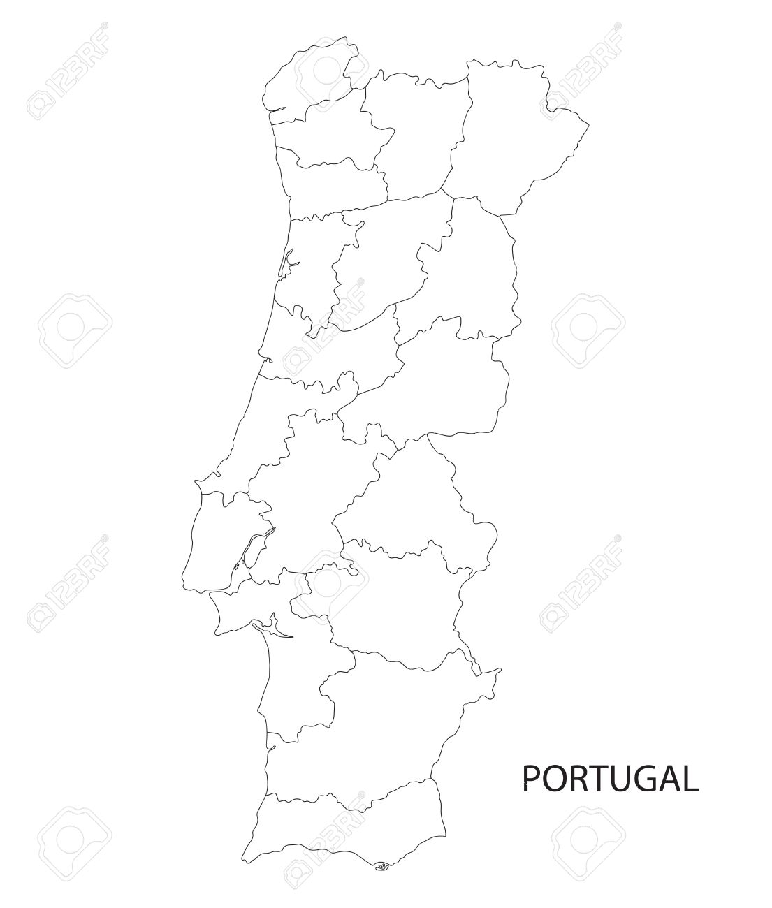 Portugal Map Outline Of Districts On Separate Layers Royalty Free - Portugal map black and white