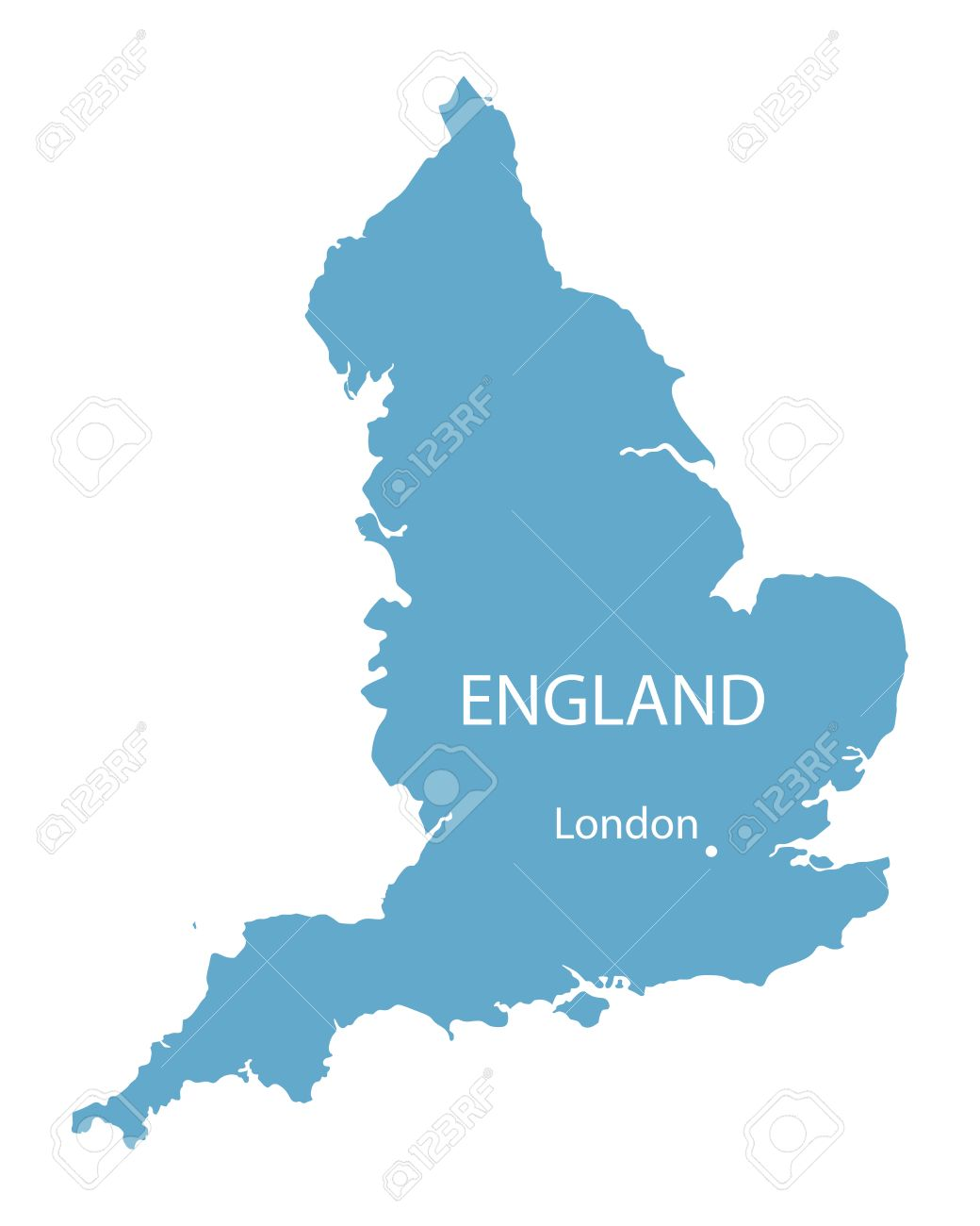 London On The Map Of England.Blue Vector Map Of England With Indication Of London