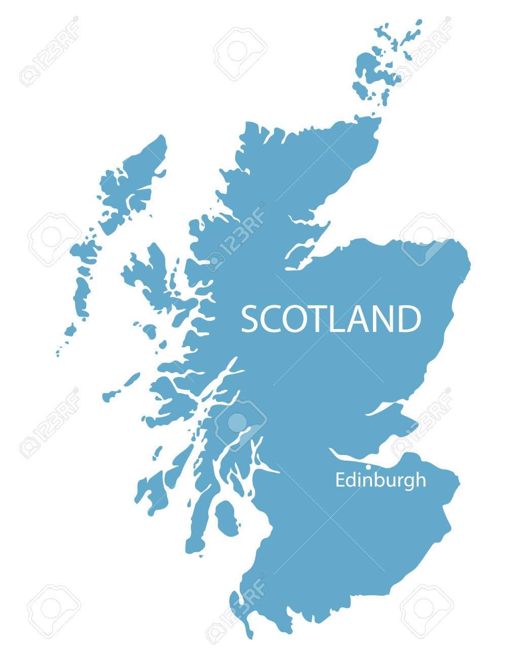 Mapa Azul De Escocia Con Indicacion De Edimburgo Ilustraciones