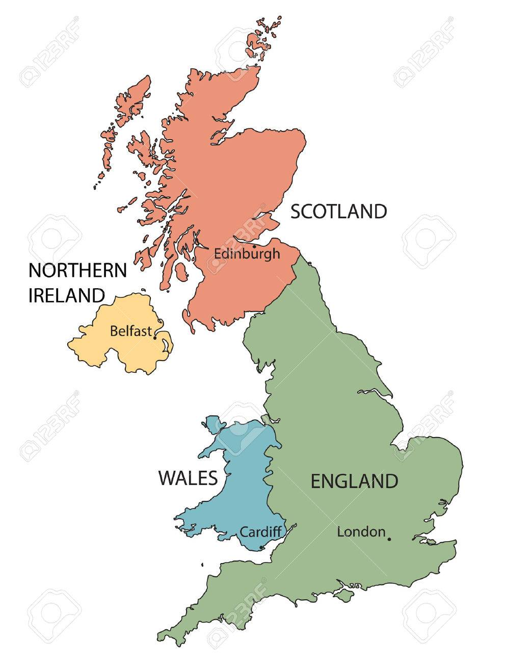 Map Of Uk Countries And Capital Cities.Colorful Map Of Countries Of The United Kingdom With Indication