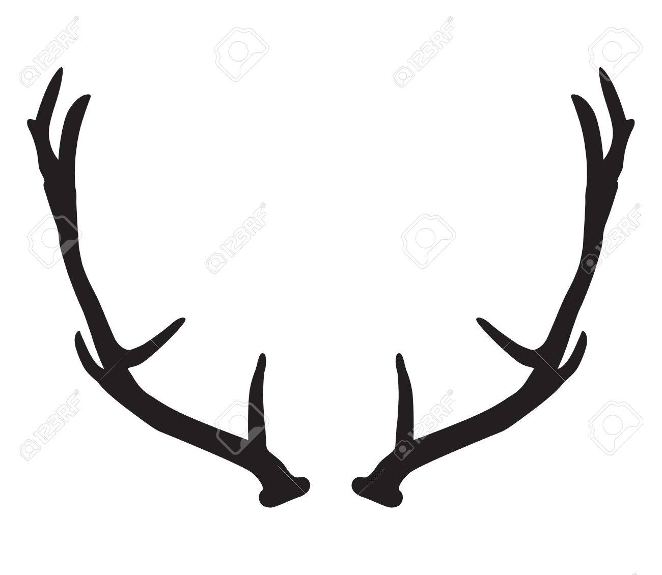 black silhouette of deer antlers royalty free cliparts vectors and rh 123rf com deer antler vector images deer antlers vector free