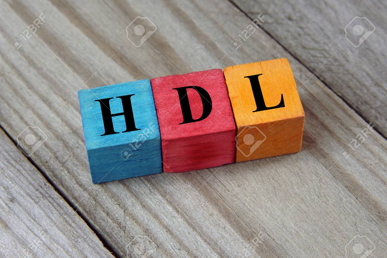 HDL high-density lipoprotein acronym on colorful wooden cubes - 53327430