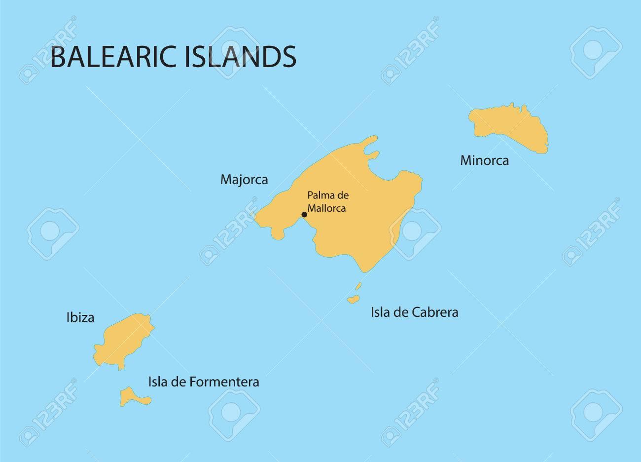 Isla De Cabrera Mapa.Islas Baleares Mapa Con Indicacion De Palma De Mallorca