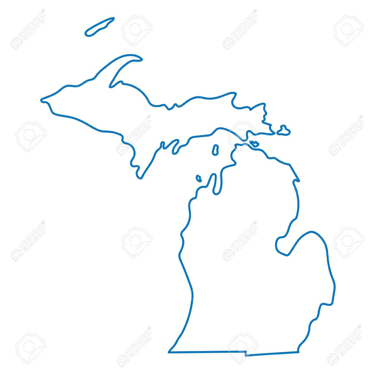 blue abstract outline map of Michigan - 61274317