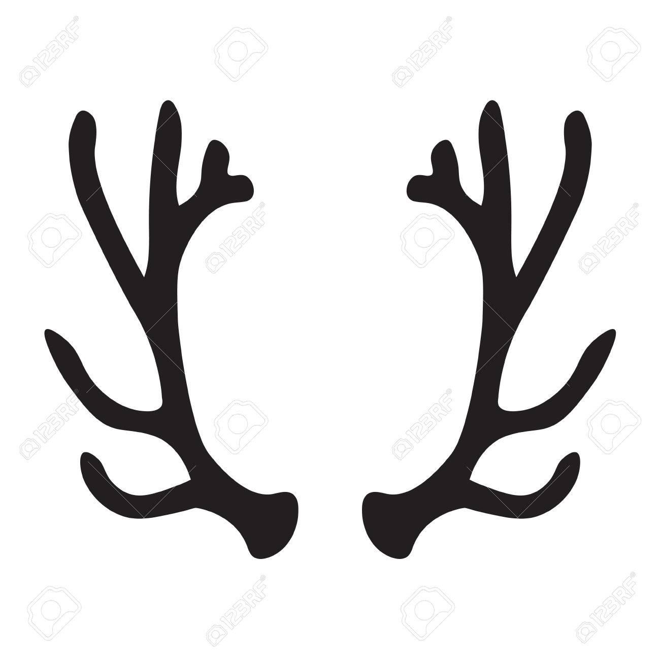 black silhouette of deer antlers vector illustration royalty free rh 123rf com free deer antler vector images deer antlers vector free