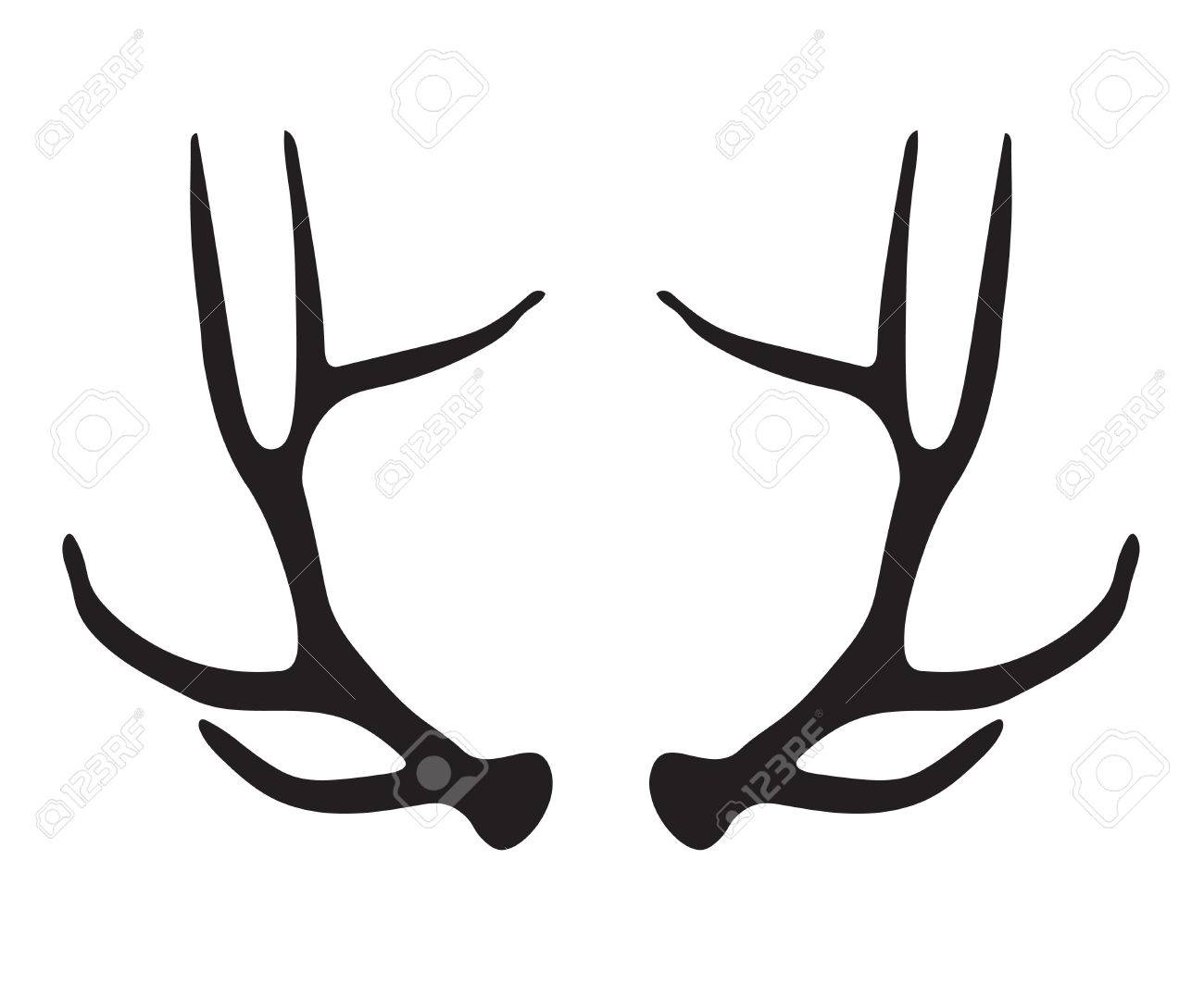 black silhouette of deer antlers vector illustration royalty free rh 123rf com deer antler vector clipart free deer antler vector art