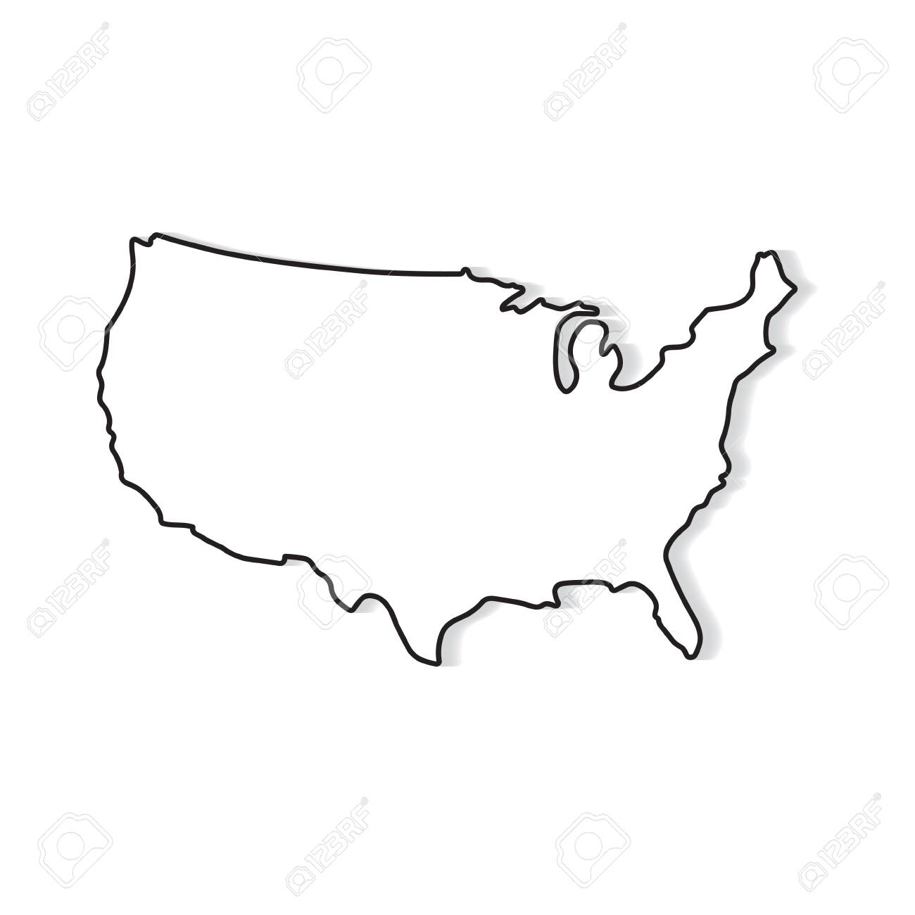 black and white map of United States- vector illustration
