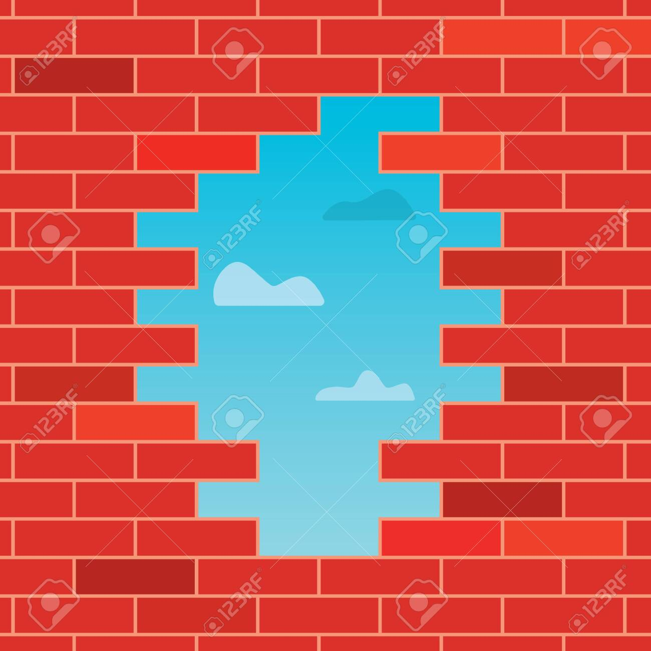 hole in the brick wall- vector illustration - 144877007