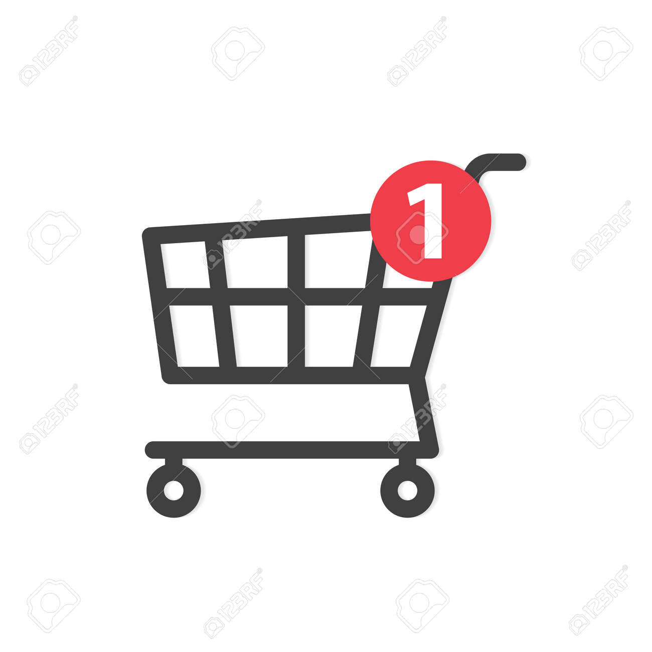 cart with notification sign, concept of online shopping, e-commerce - vector illustration - 169264507