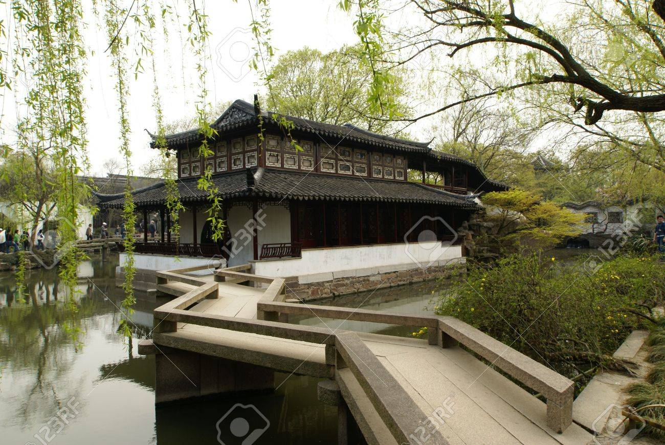 Chinese garden design - A Typical Classic Chinese Garden In Suzhou Famous Of A Small Compact Clean