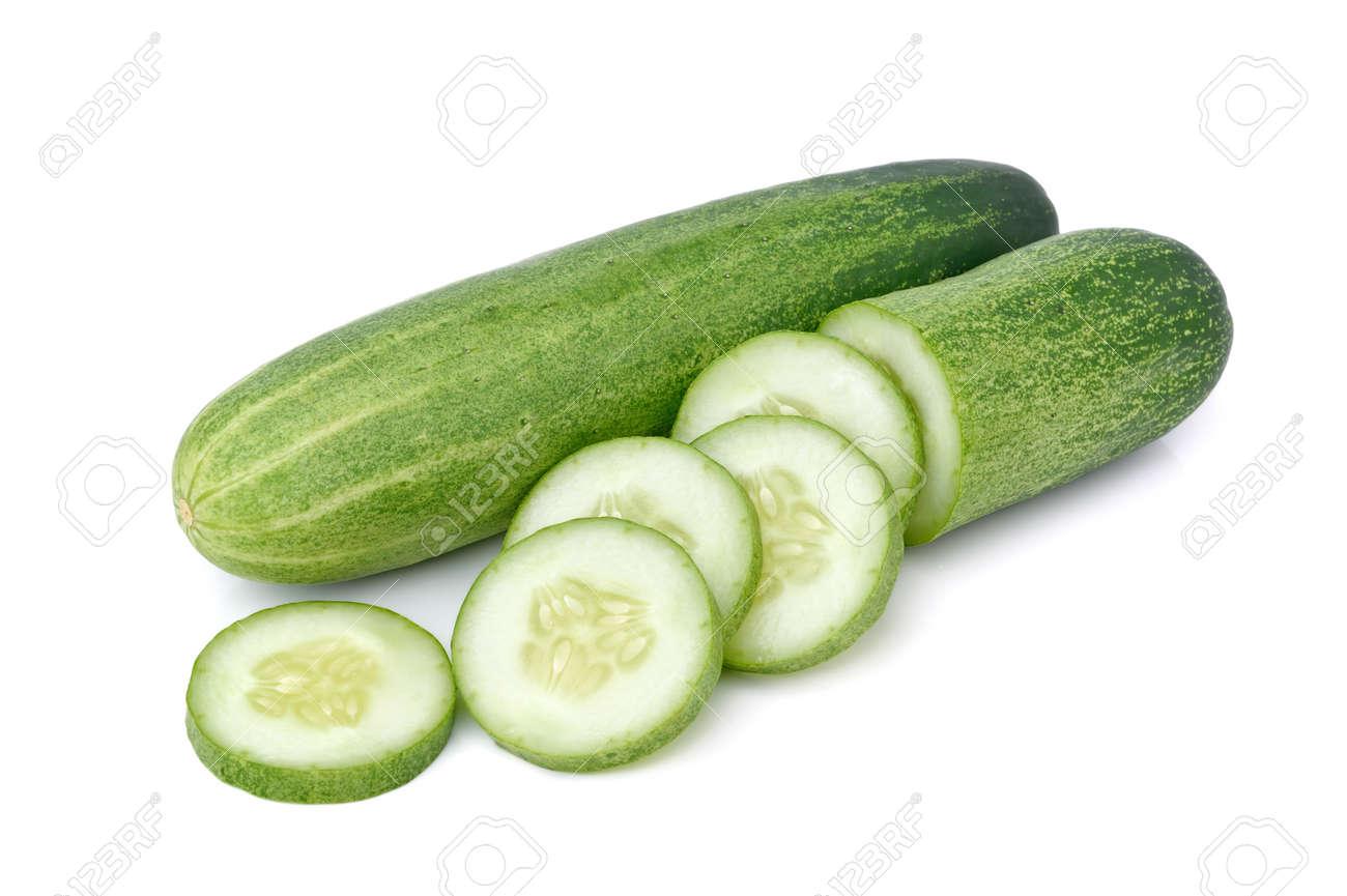 Cucumber sliced isolated on white background - 157097963