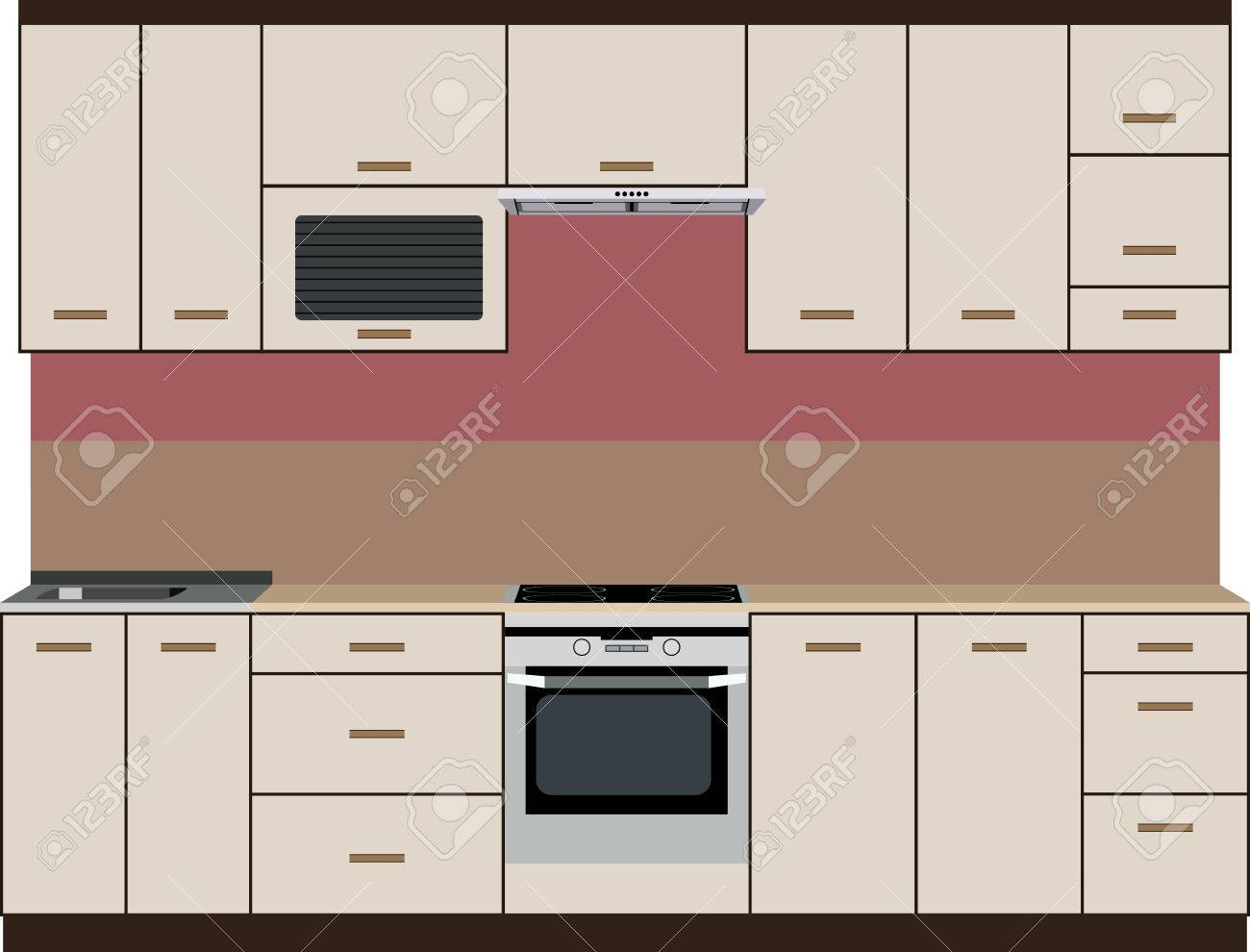 painted front kitchen with stove, cabinets and sink royalty free