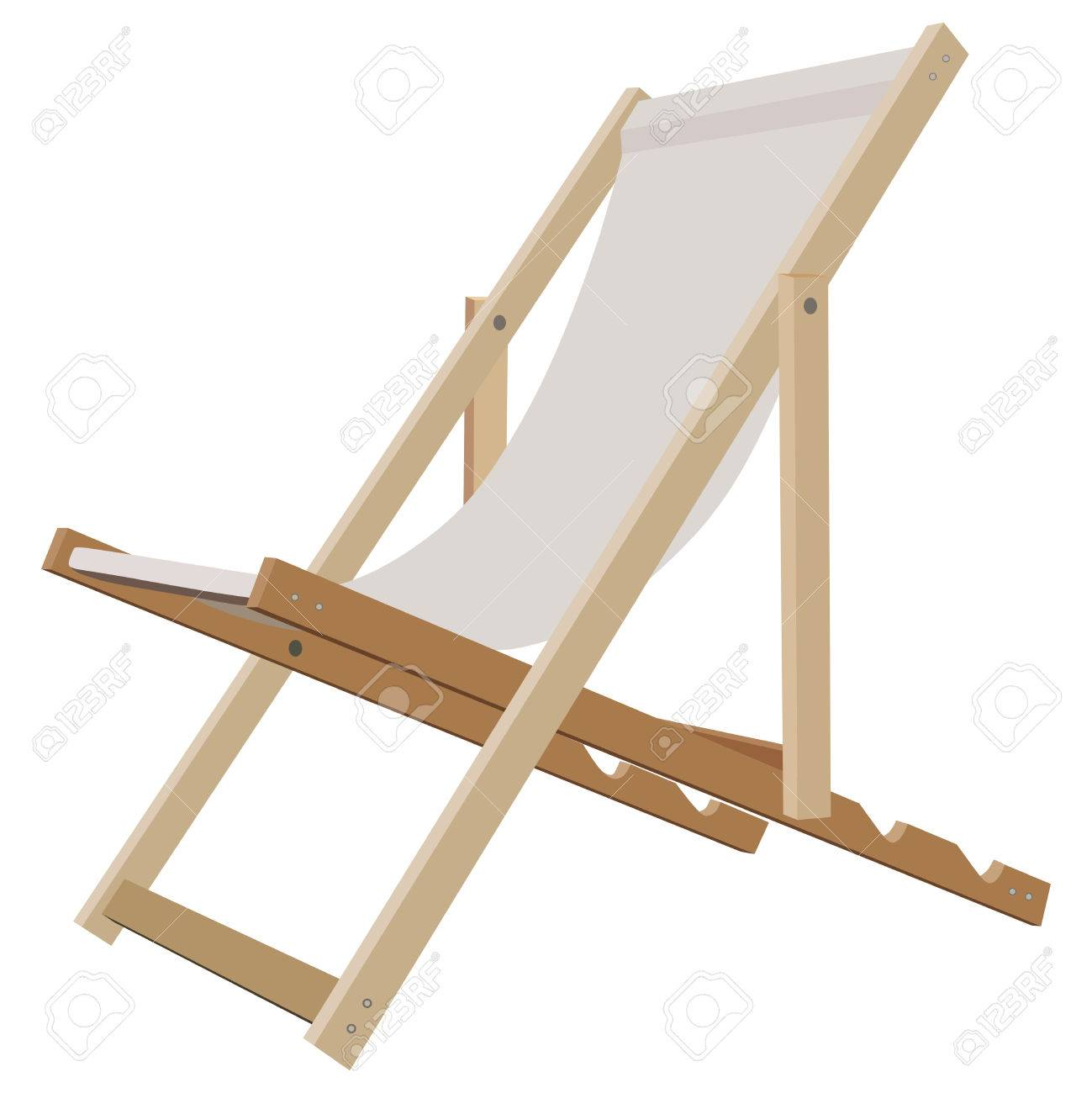 Wooden beach lounge chair - Vector Wooden Beach Lounge Chair On A White Background