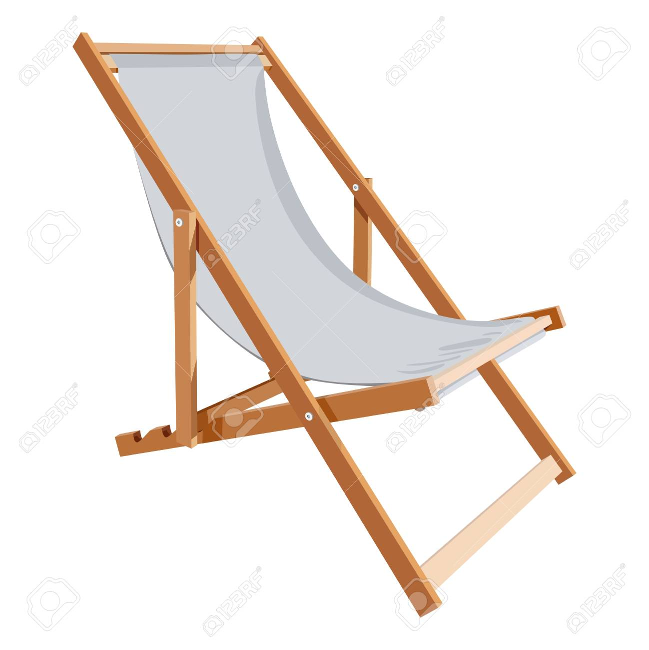 Wooden Chaise Lounge On A White Background Royalty Free Cliparts