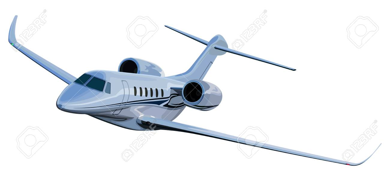 Avión A Reacción En Una Ilustración De Color Blanco. Ilustraciones ...