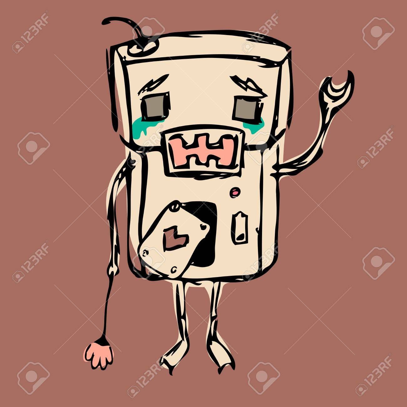 Sad crying robot, staying alone with a flower Stock Vector - 12889655