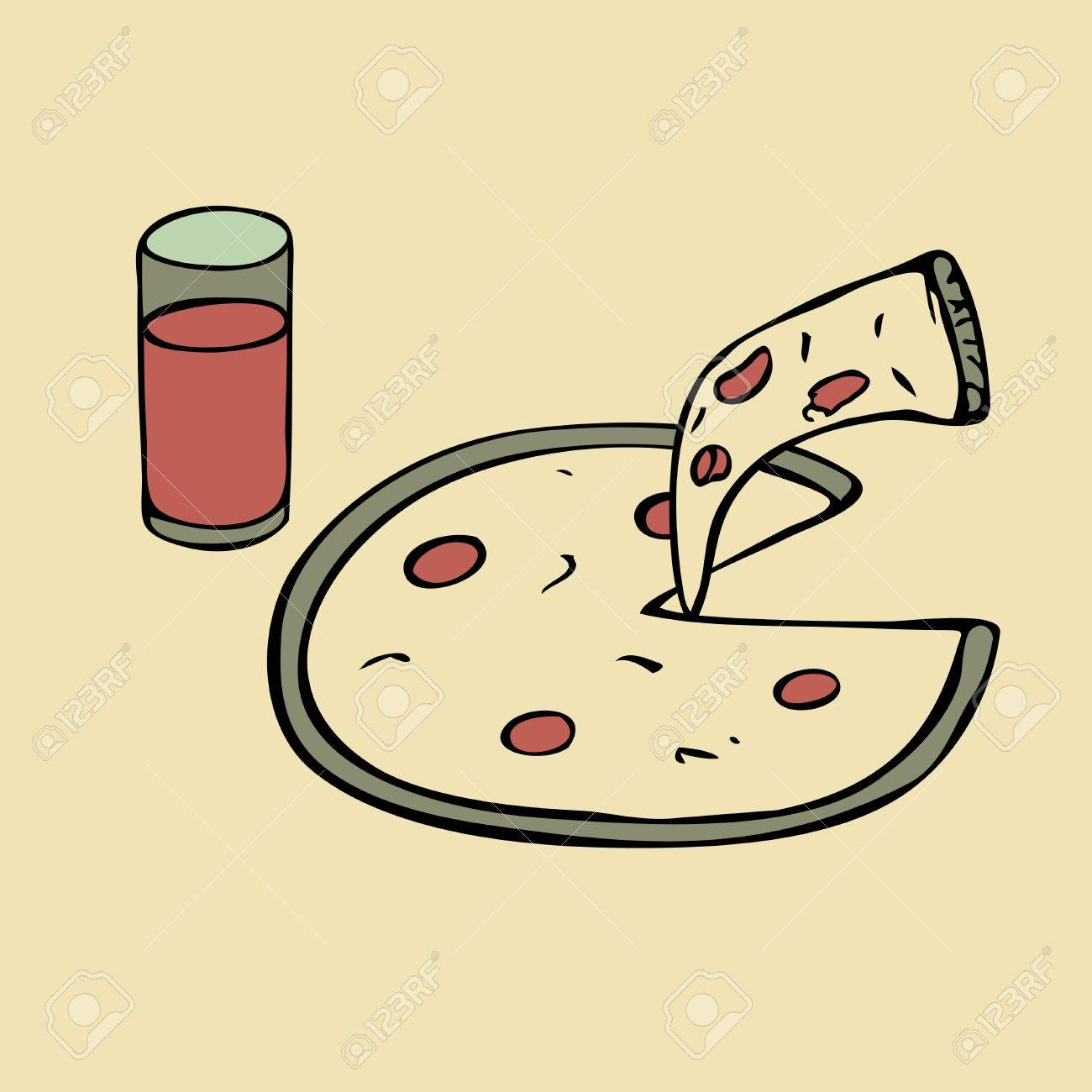 Isolated glass of juice and pizza Stock Vector - 13059017