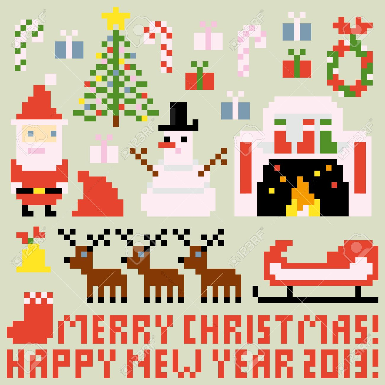 multiple icons for christmas theme in pixel art style vector
