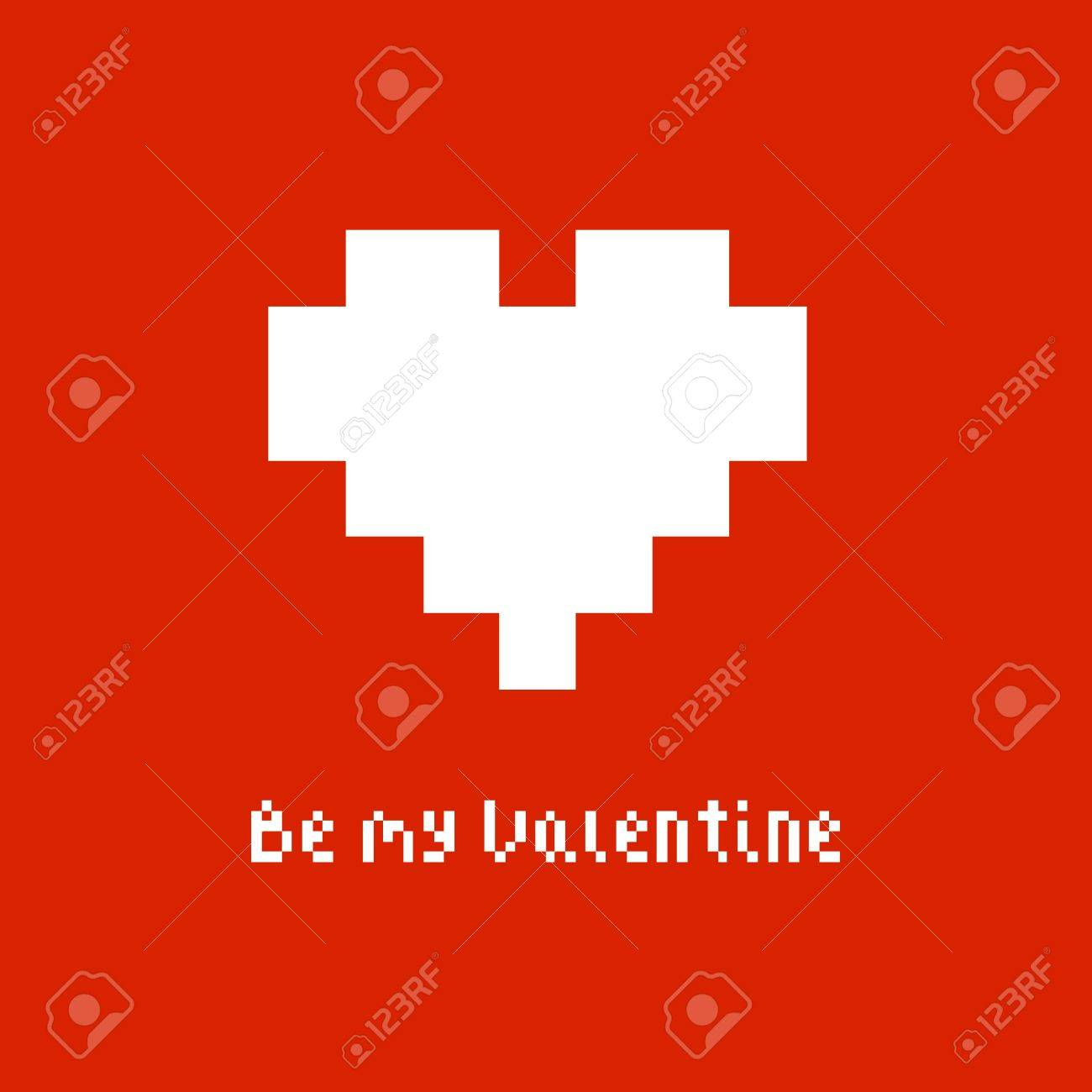 Simple Gift Card For A Valentines Day In Pixel Art Style Vector