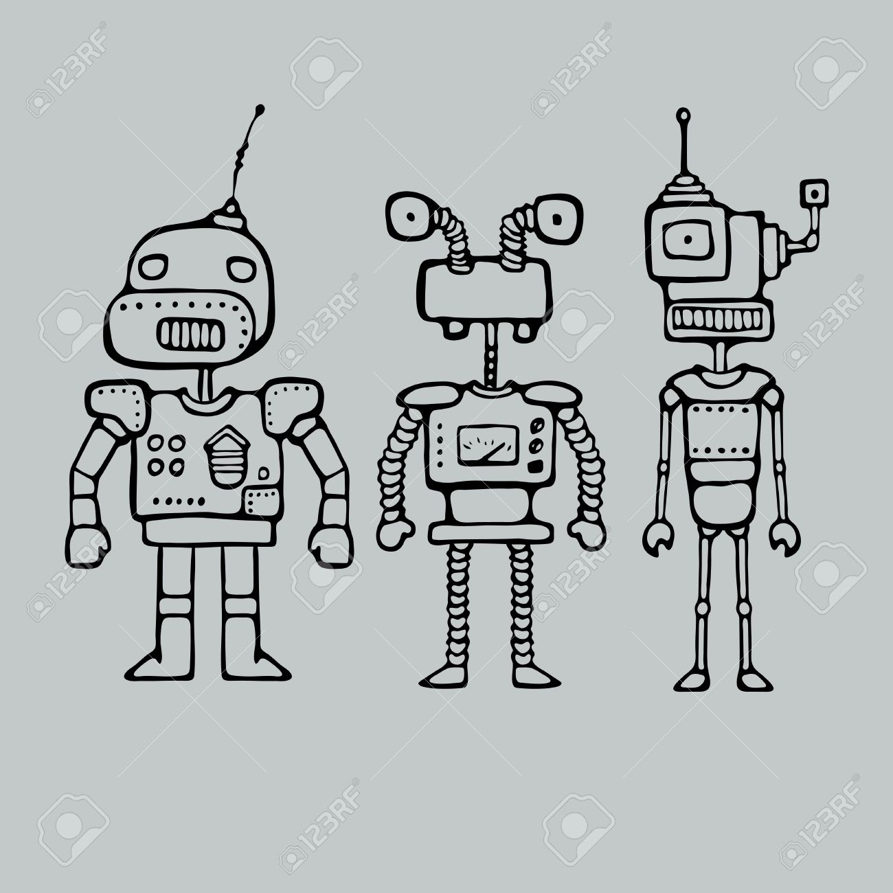 Cartoon Outlines Drawing With Three Robots Vector Illustration