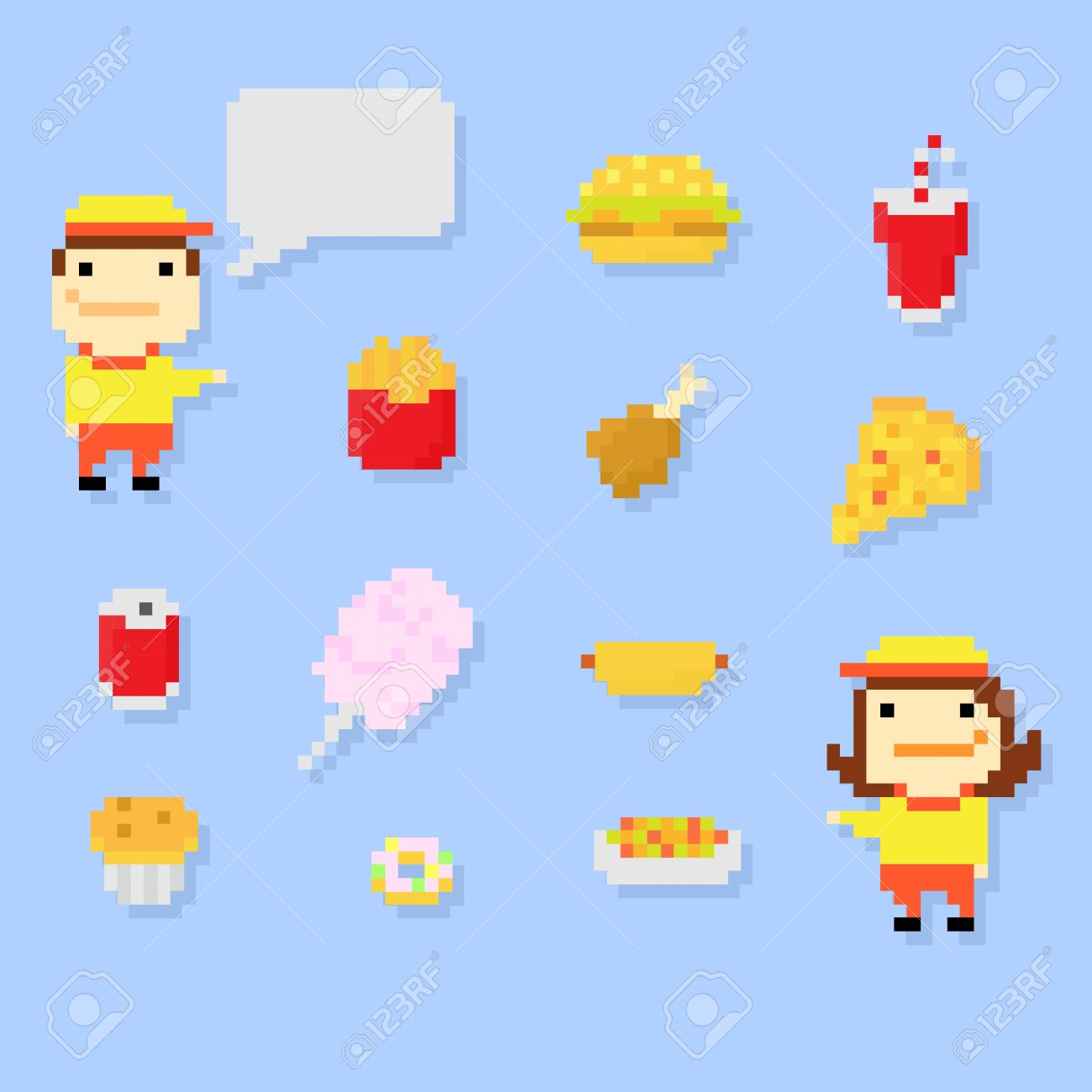 Set of Multiple Pixel Icons on