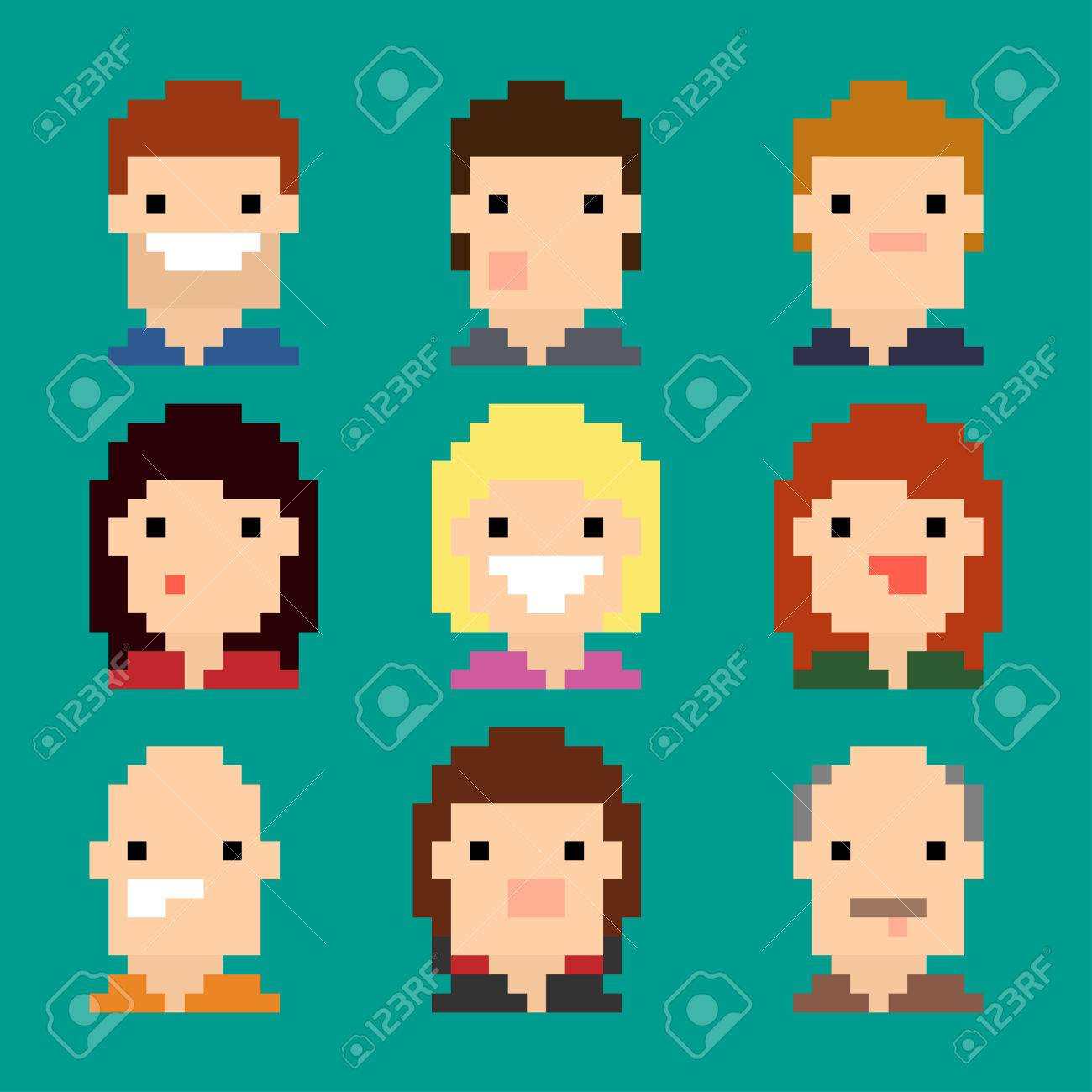 Pixel Art Human Faces Showing Different Expressions