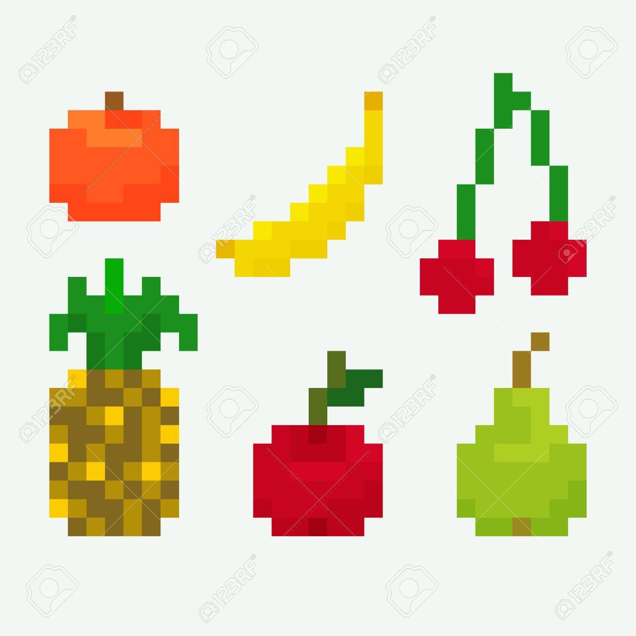 Set Of Pixel Art Icons For Fruits Orange Banana Cherry Pineapple