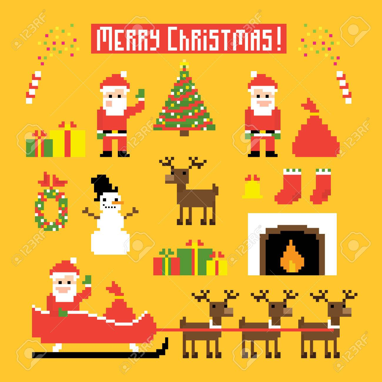 Pixel Art Ensemble Dicônes Avec Le Père Noël Cerfs Bonhomme De Neige Arbre De Noël Et Dautres Symboles De Noël