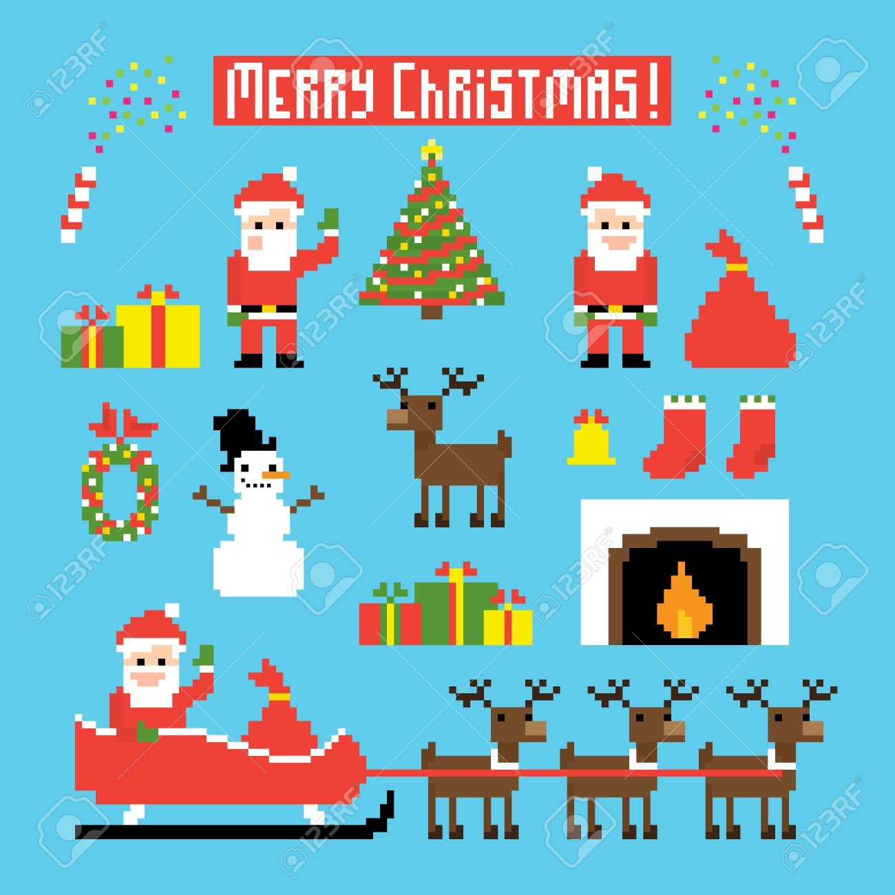 dc782a1bcd9f Pixel Art Set Of Icons With Santa