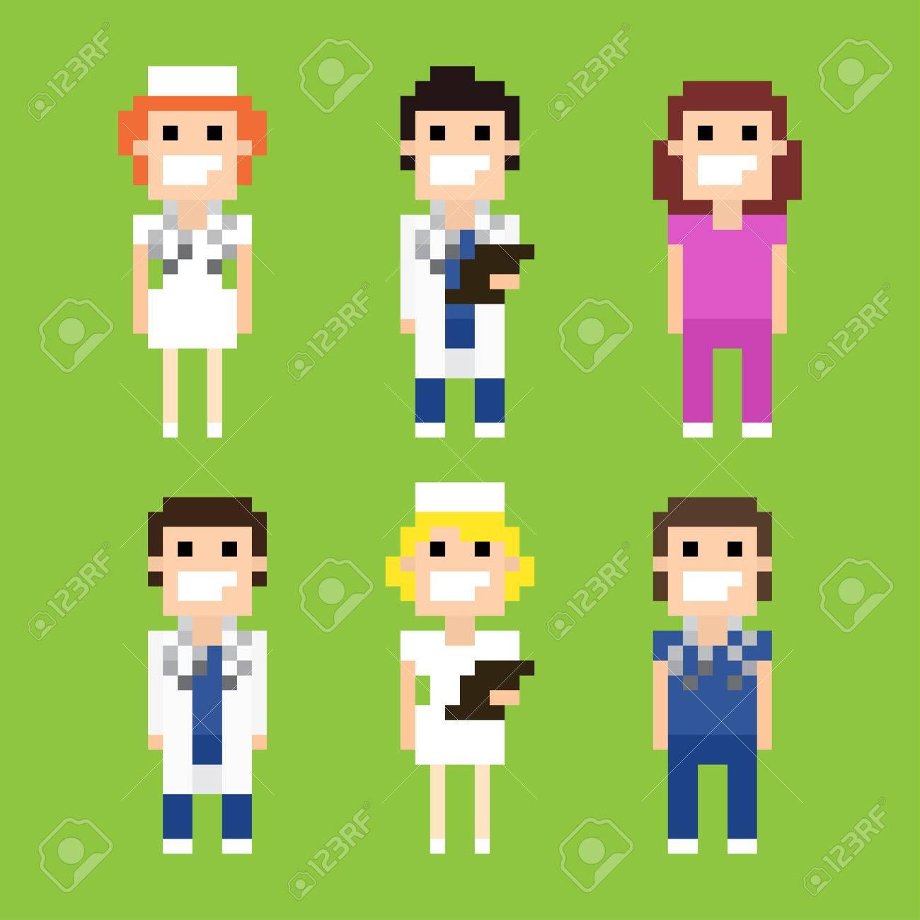 Personajes Del Arte Del Pixel De Los Médicos Y Enfermeras ...