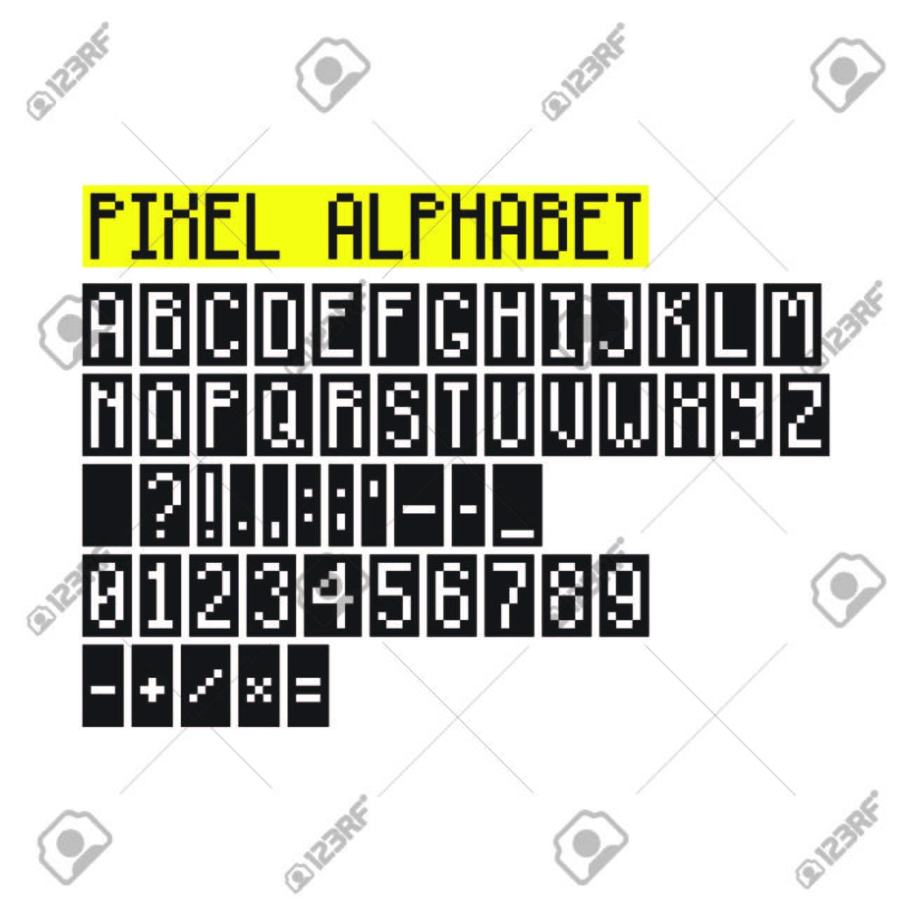 Pixel Art Alphabet Avec Des Lettres Des Chiffres Des Signes De Ponctuation Et Des Symboles Mathématiques