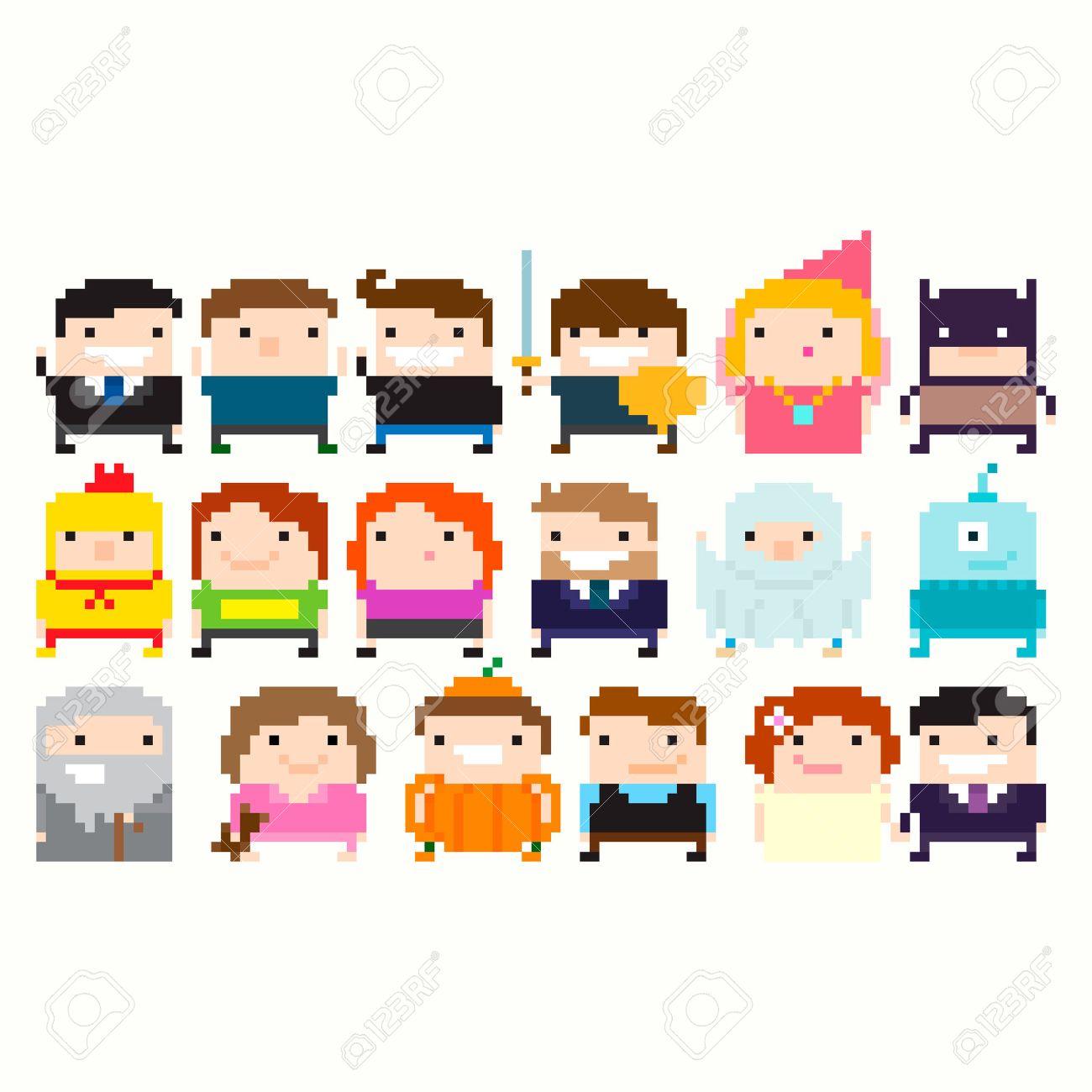 Muchos Pixel Art Divertidos Personajes: Hombre De Negocios, Guerrero ...