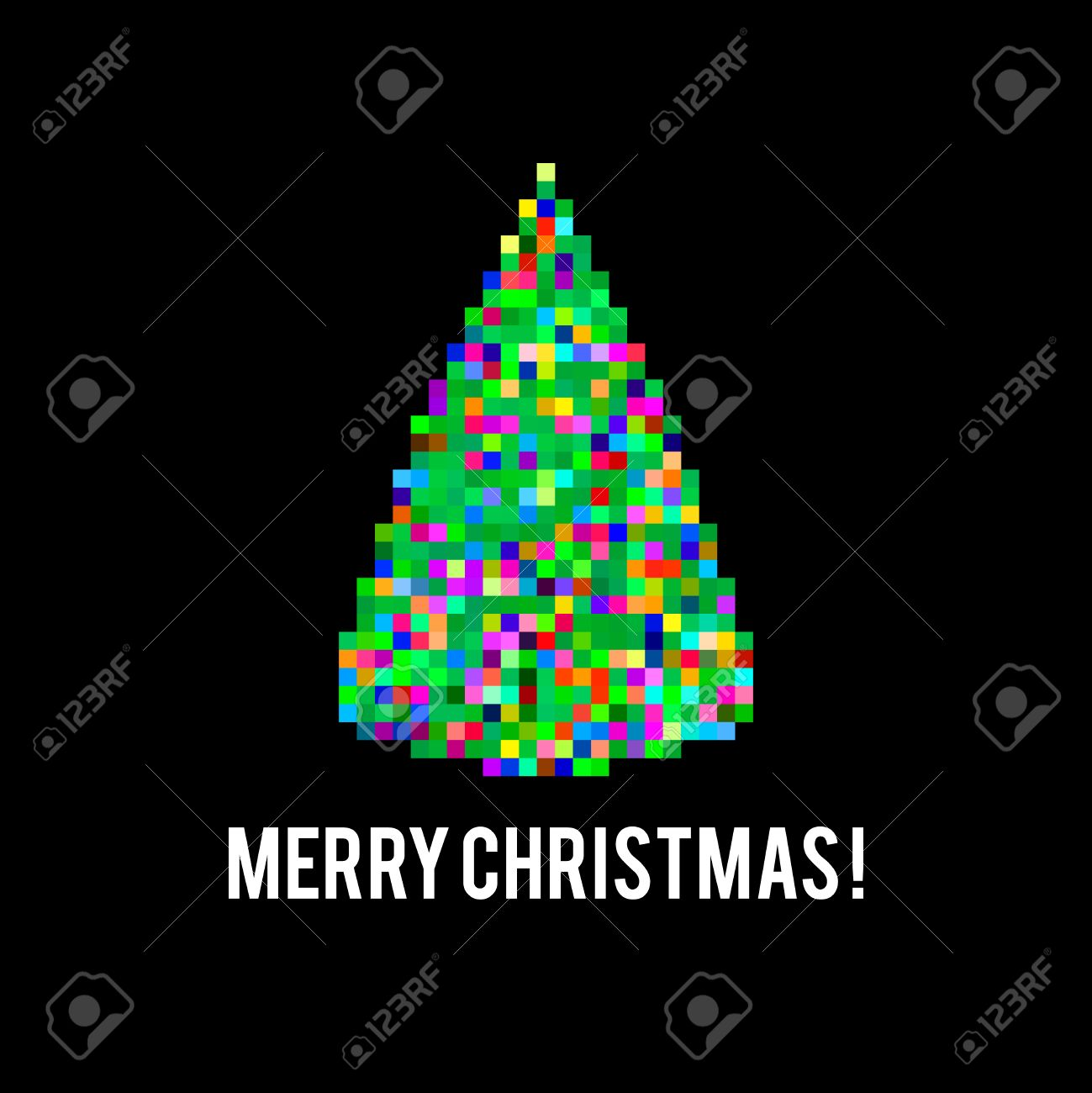 pixel art different colored bright christmas tree on black background stock vector 36807023 - Different Christmas Trees