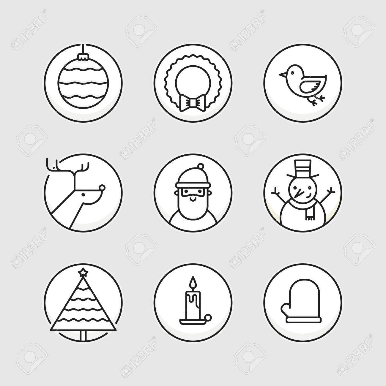 Set of outline circle icons with traditional christmas signs set of outline circle icons with traditional christmas signs and symbols santa reindeer buycottarizona Image collections