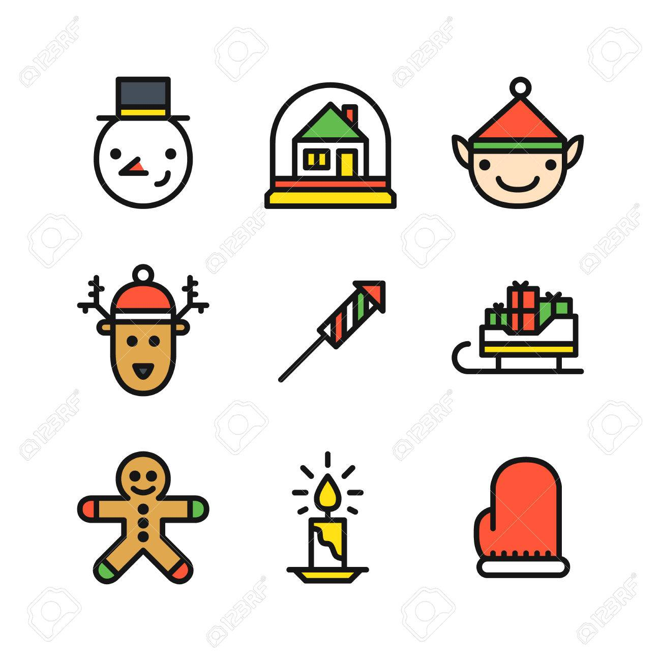 Conjunto De Nueve Iconos De Color De Contorno Para La Navidad Con La ...