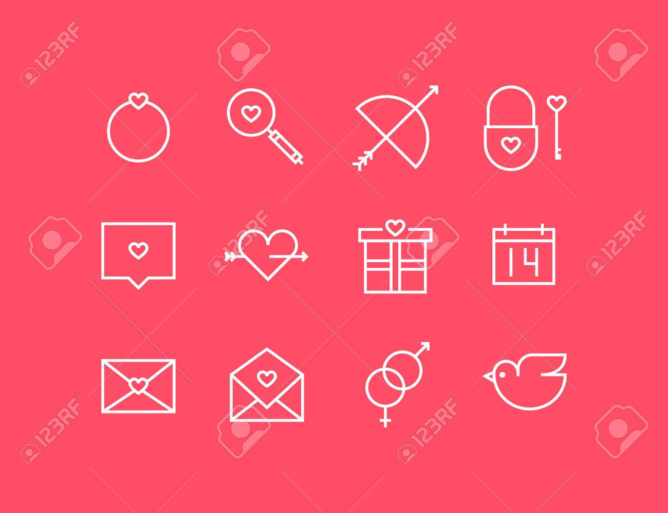 Icons With Valentine S Day Signs And Symbols Royalty Free Cliparts