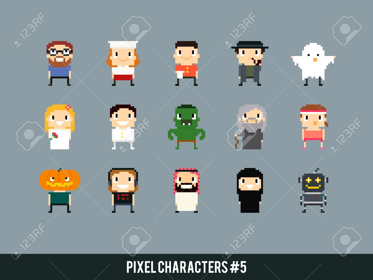Diferentes Personajes Pixel Art: Cocinero, Camarero, Fantasma, Novia ...