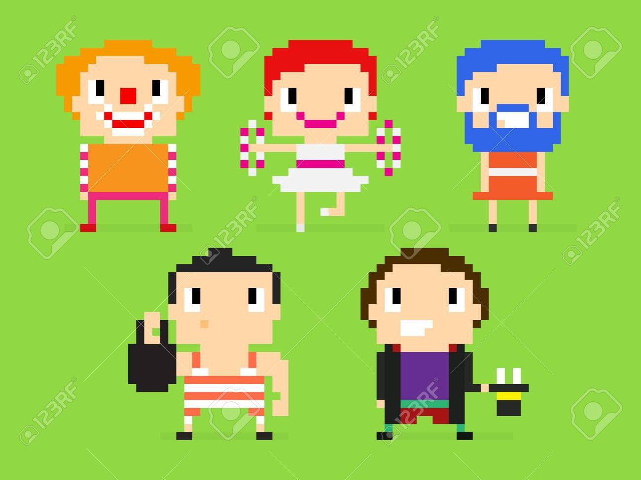 Caracteres D Art De Pixel Groupe De Gens Du Cirque Clown
