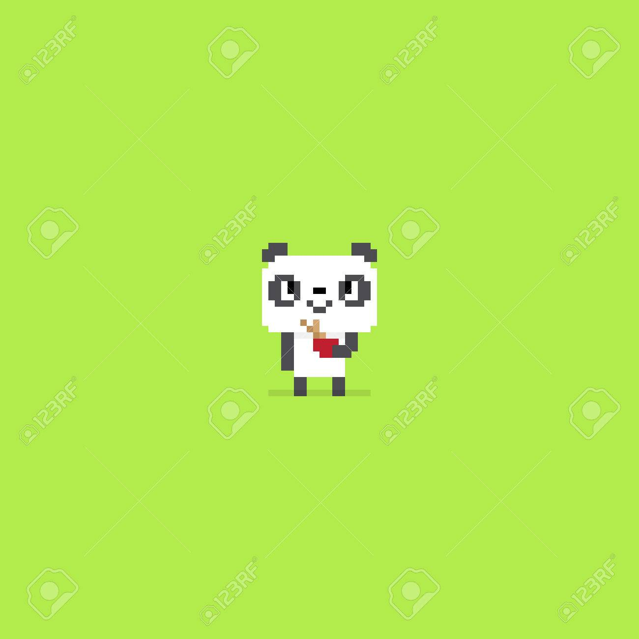 Pixel Art Panda Smiling And Holding A Bowl With Bamboo Sticks