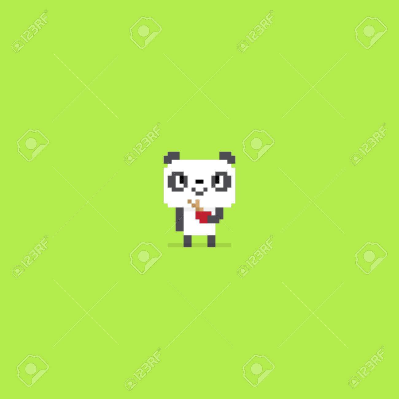 Pixel Art Panda Souriant Et Tenant Un Bol Avec Des Bâtons De Bambou Dedans Isolé Sur Fond Vert
