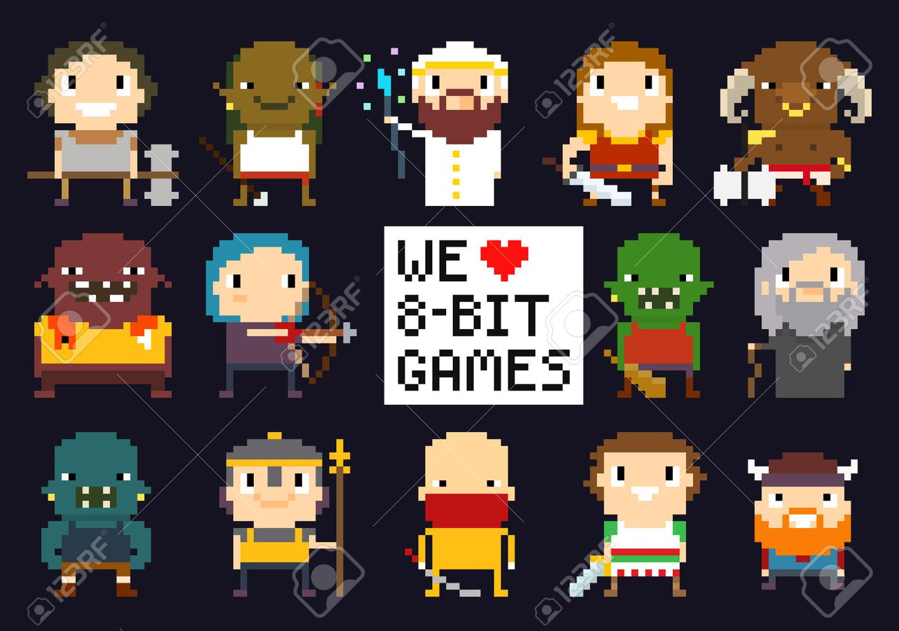 Pixel Art Characters, 8-bit Game Characters, Warriors, Monsters ...