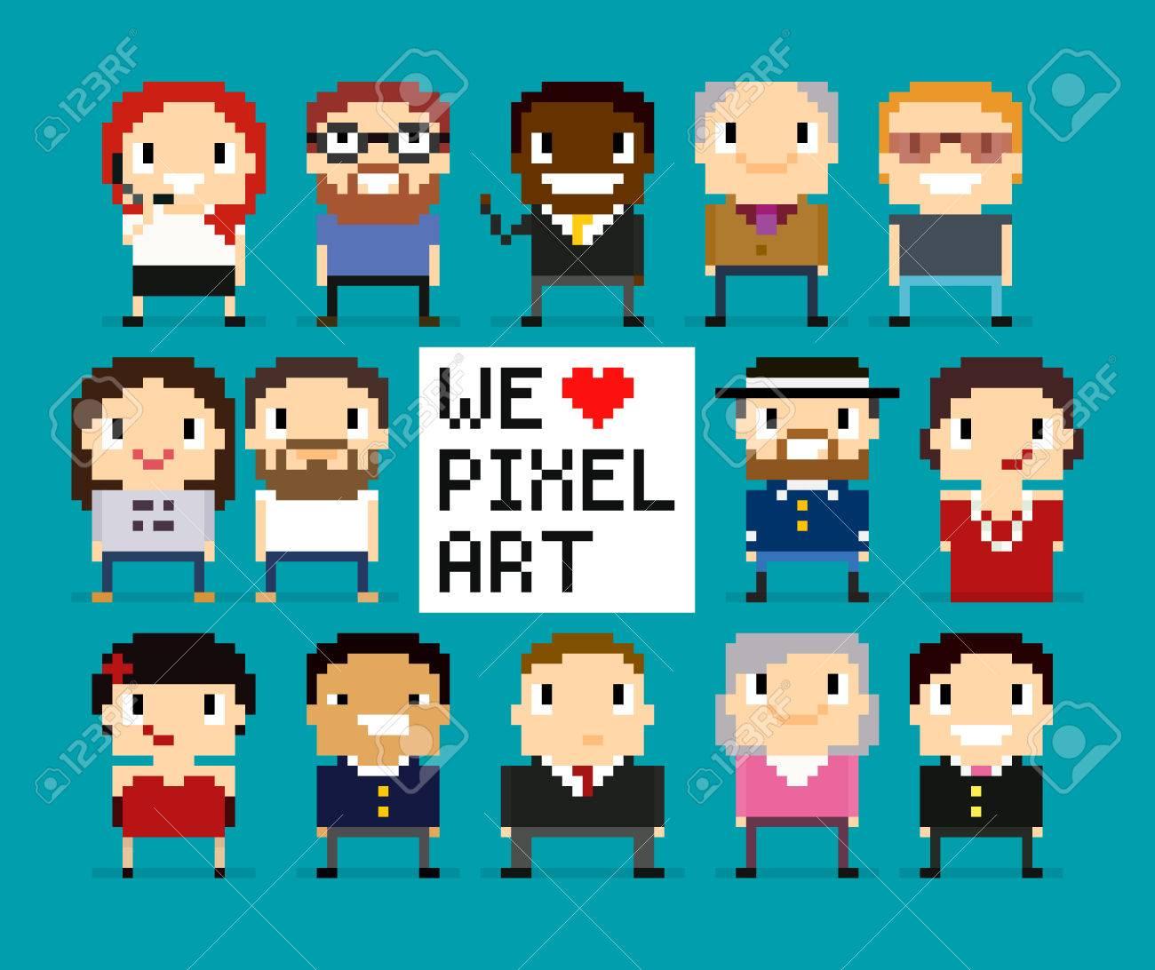 Diferentes Personajes Pixel Art, 8 Personas Bits, Los Trabajadores ...