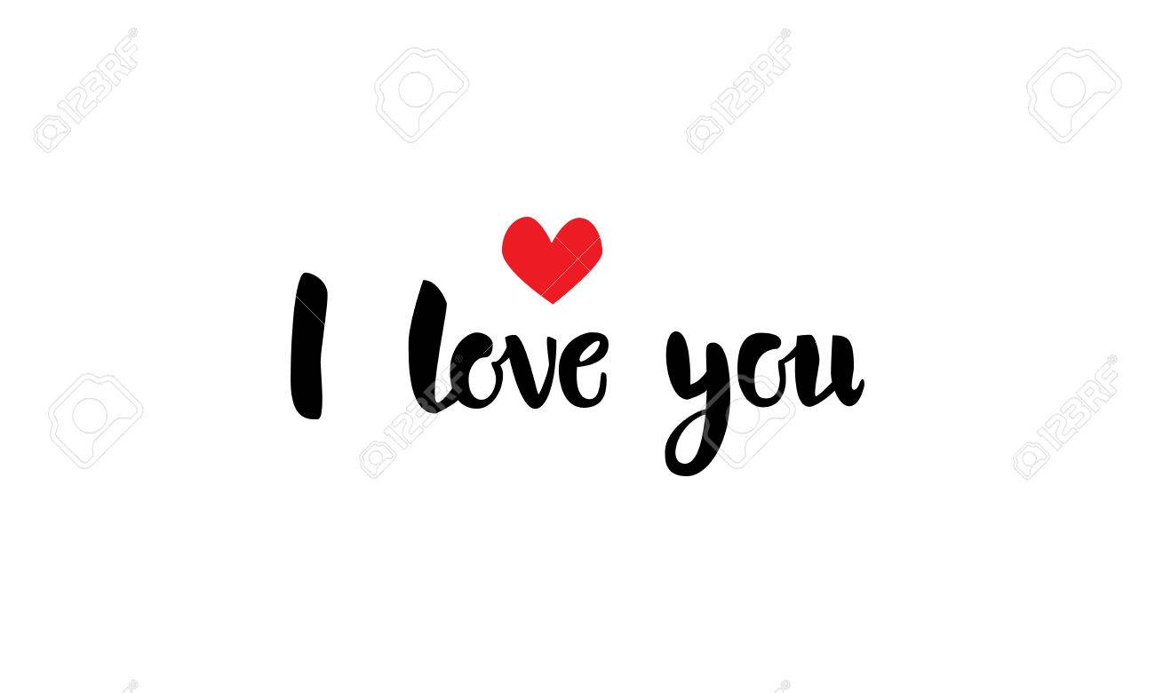 I love you beautiful lettering, text with red heart - 56732428
