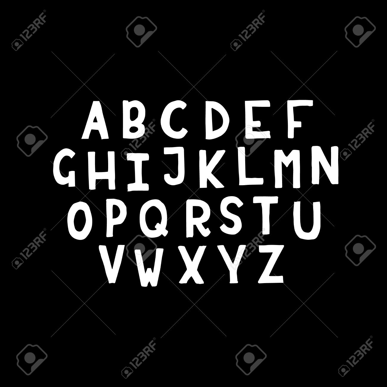 White Latin Alphabet Letters On Black Background Hand Written Royalty Free Cliparts Vectors And Stock Illustration Image 56732618