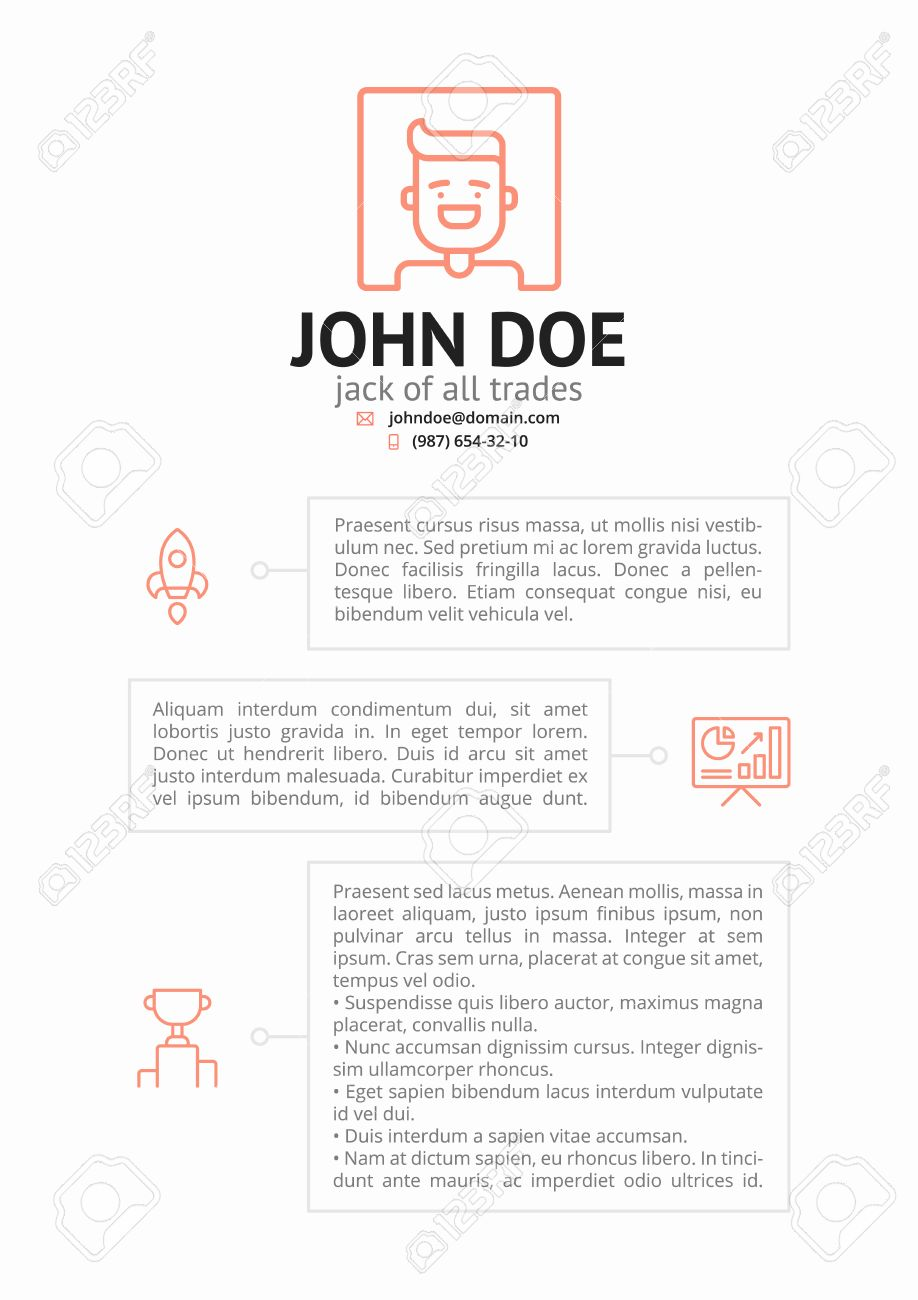 Simple CV Resume Template With Outline Icons Stock Vector   65700050  Jack Of All Trades Resume
