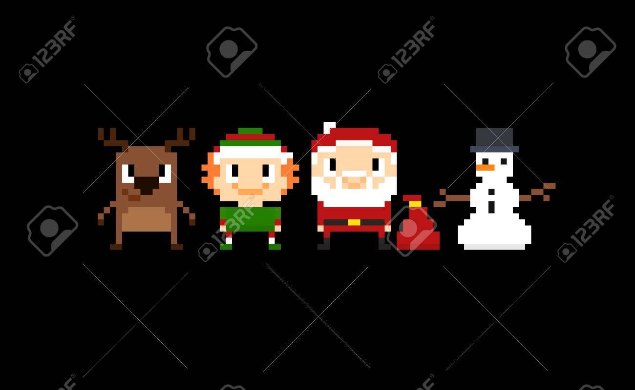 Ensemble de signes et personnages de Noël pixel art Père Noël, elfe,  rennes et bonhomme de neige