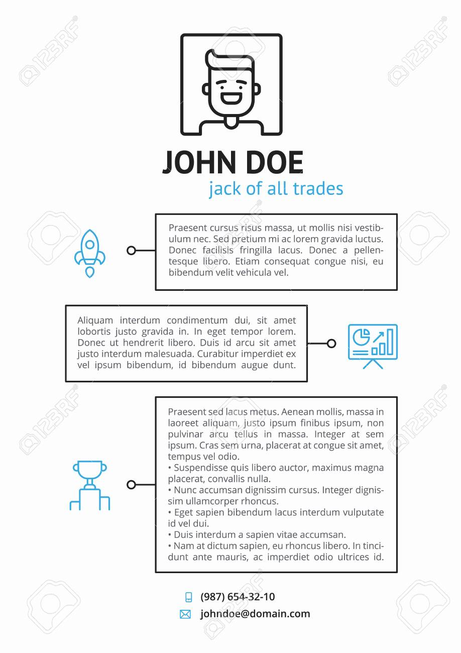 Simple Cv Resume Template With Outline Icons Royalty Free Cliparts