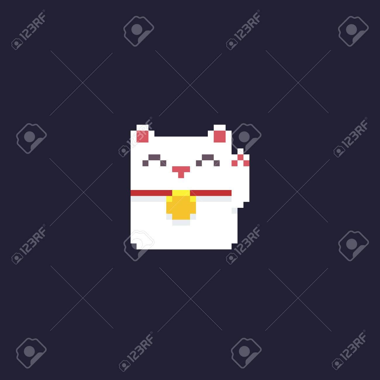 Maneki Neko Chaton De Pixel Art Isolé Sur Fond Sombre