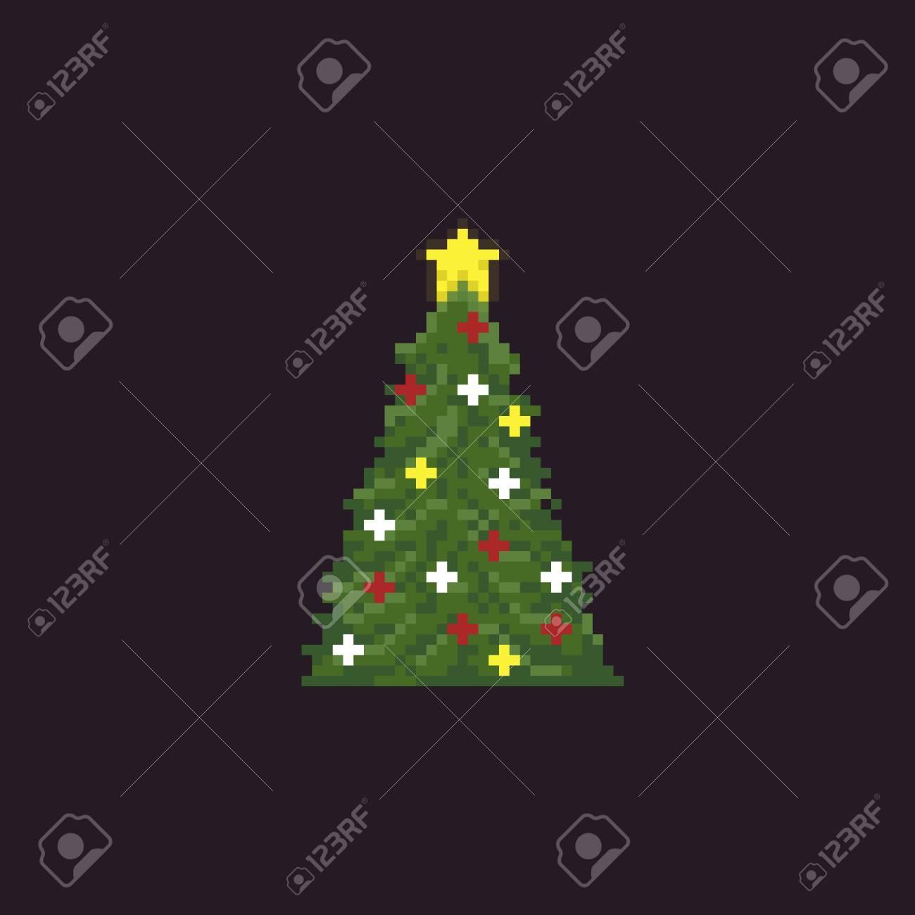 Pixel Art Décoré Sapin De Noël Avec étoile Dorée Sur Le Dessus Isolé Sur Fond Sombre