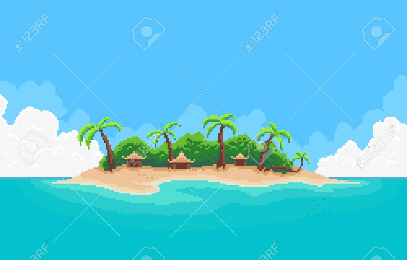 Pixel Art Tropical Island With Palm Trees And Bungalows Royalty Free ...